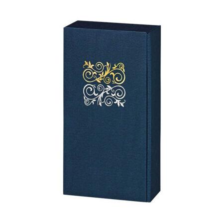 Geschenkkarton für 2 Flaschen Linus blau mit gold/silber